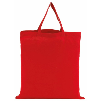 Picture of COTTON SHOPPER TOTE BAG with Short Handles in Red