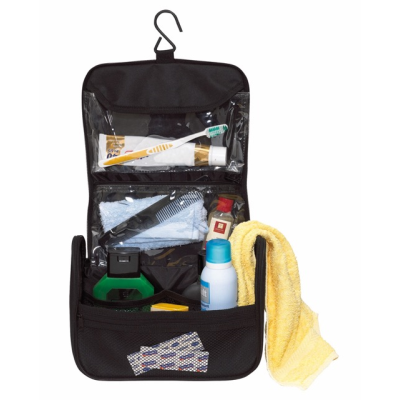 Picture of WIDE AWAKE TOILETRY WASH BAG in Black & Grey