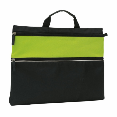 Picture of FILE DOCUMENT BUSINESS BAG in Black & Pale Green