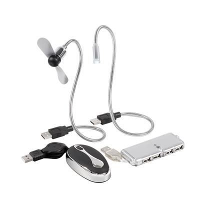Picture of TRAVEL GEAR USB SET in Silver - Black