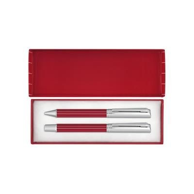 Picture of ADORNO WRITING SET in Red - Silver