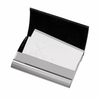 Picture of PIET BUSINESS CARD HOLDER in Silver Metal & Black Synthetic Leather