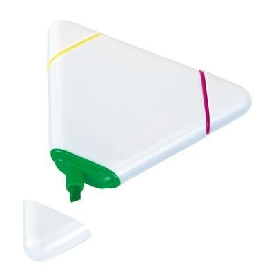 Picture of TRIANGULAR THREE COLOUR HIGHLIGHTER PEN in White