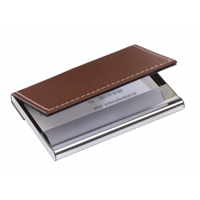 Picture of POCKET BUSINESS CARD HOLDER in Brown & Silver