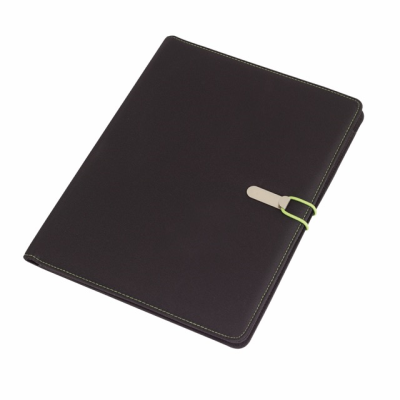 Picture of SESSION A4 MICROFIBRE PORTFOLIO CONFERNCE FOLDER in Black & Green
