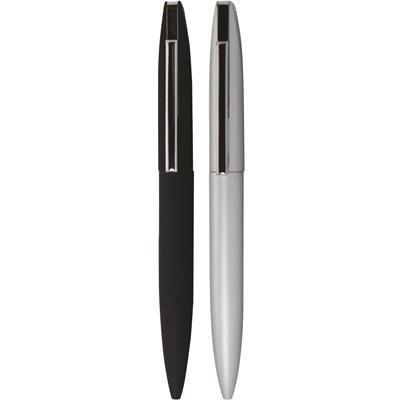 Picture of BLADE METAL BALL PEN in Satin Silver Finish with Bright Silver Chrome Trim