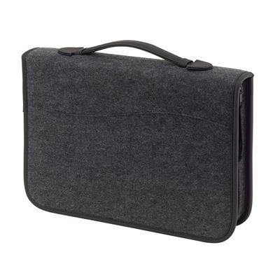 Picture of EMINENCE FELT ZIP AROUND A4 CONFERENCE FOLDER PORTFOLIO & RING BINDER in Black