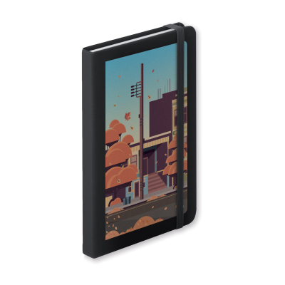 Picture of CILUXLIN PU LEATHER COVERED NOTE BOOK with 100 Lined x Sheet & Rubber Strap