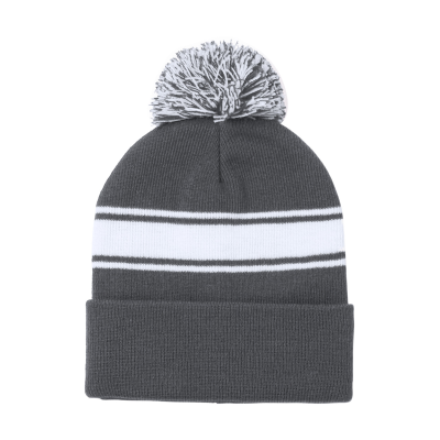 Picture of BAIKOF ACRYLIC WINTER HAT with White Stripe & Matching Colour Pompom