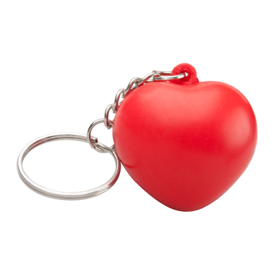 Picture of SILENE HEART SHAPE ANTISTRESS BALL in Red with Metal Keyring