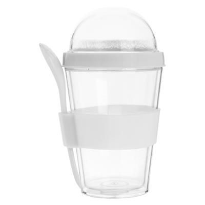 Picture of BIRCHER CLEAR TRANSPARENT PLASTIC YOGHURT CUP with Separate Compartment on Top