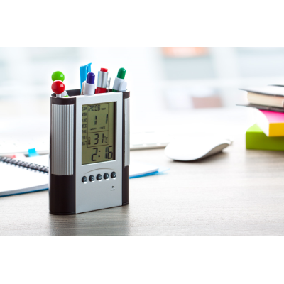 Picture of LORIS PEN POT CLOCK in Black & Silver