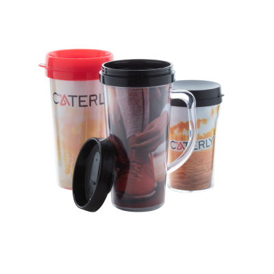 Picture of DOPPLER PLASTIC DOUBLE WALL THERMO MUG with Lid
