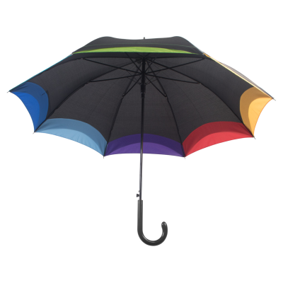 Picture of ARCUS AUTOMATIC 8 PANEL UMBRELLA with Rainbow Colour Trimming Metal Frame & Shaft Fiberglass Ribs