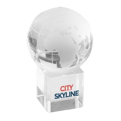Picture of SATTELITE CRYSTAL GLOBE ON CRYSTAL CUBE