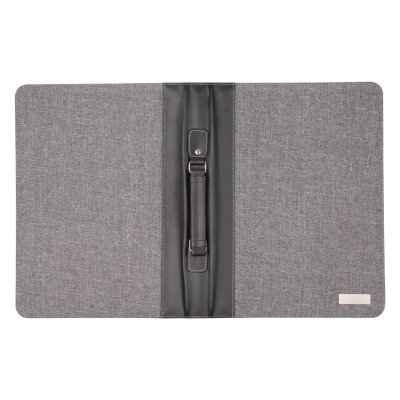 Picture of LINEN & PU LEATHER COVERED A4 SIZED ZIP DOCUMENT FOLDER with Handle 20x Sheet Note Pad Solar-power C