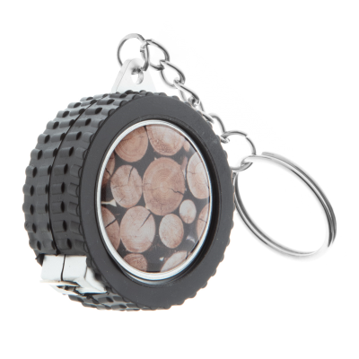Picture of CAR WHEEL TAPE MEASURE KEYRING in Black & Silver