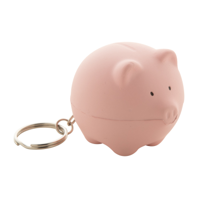 Picture of SNOWBALL PIG SHAPE ANTISTRESS BALL with Metal Keyring