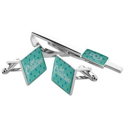 Picture of MAESTRO SHINY METAL CUFFLINK AND TIE CLIP SET in Black Gift Box