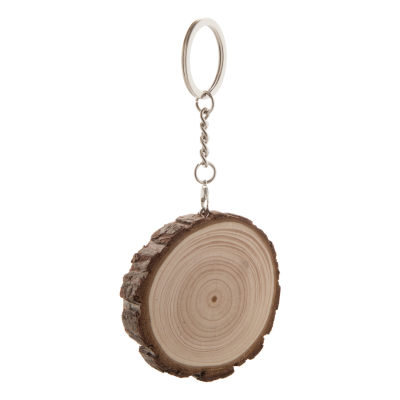 Picture of SLOGGY PINE WOOD KEYRING with Bark & Metal Ring