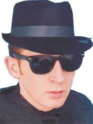 Picture of BLUES BROTHERS BLACK FLOCKED HAT with Black Band