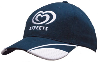 Picture of BRUSHED HEAVY COTTON BASEBALL CAP with Mesh Insert on Peak