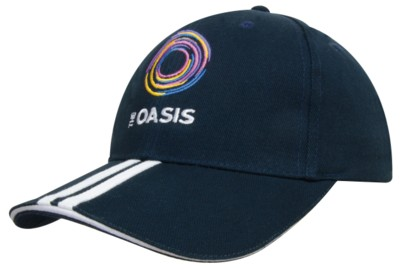 Picture of BRUSHED HEAVY COTTON BASEBALL CAP with 2 Stripe Peak & Sandwich