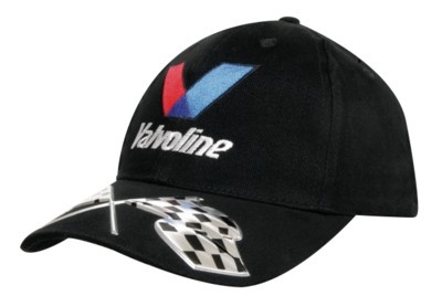 Picture of BRUSHED HEAVY COTTON BASEBALL CAP with Liquid Metal Flag Design on Peak