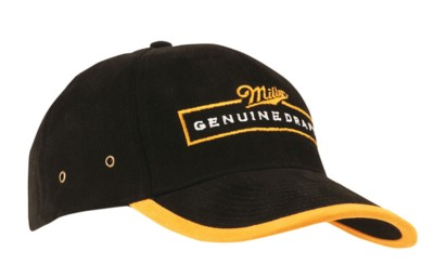 Picture of BRUSHED HEAVY COTTON BASEBALL CAP with Peak & Arch Trim
