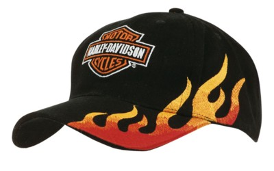 Picture of BRUSHED HEAVY COTTON BASEBALL CAP in Black & Gold with Flame Embroidery