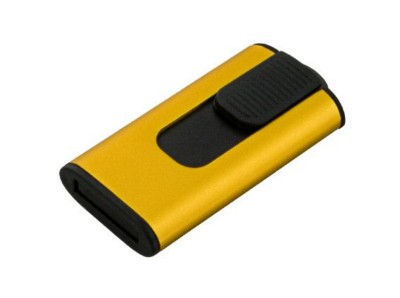 Picture of COB RETRACT USB FLASH DRIVE MEMORY STICK in Yellow