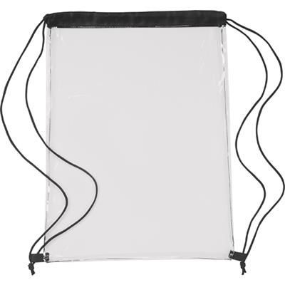 Picture of CLEAR TRANSPARENT PVC DRAWSTRING BAG in Black