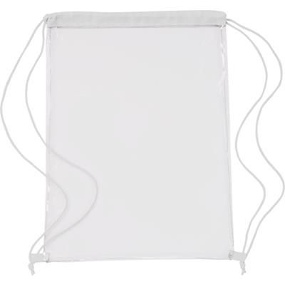 Picture of CLEAR TRANSPARENT PVC DRAWSTRING BAG in White