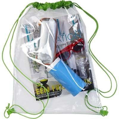 Picture of CLEAR TRANSPARENT PVC DRAWSTRING BAG in Lime