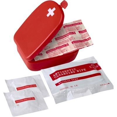 Picture of HANDY SIZE FIRST AID KIT in Red Plastic Case
