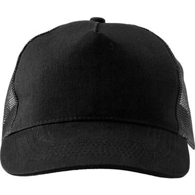 Picture of COTTON TWILL & PLASTIC FIVE PANEL BASEBALL CAP in Black