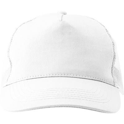 Picture of COTTON TWILL & PLASTIC FIVE PANEL BASEBALL CAP in White