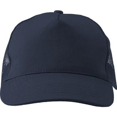 Picture of COTTON TWILL & PLASTIC FIVE PANEL BASEBALL CAP in Blue