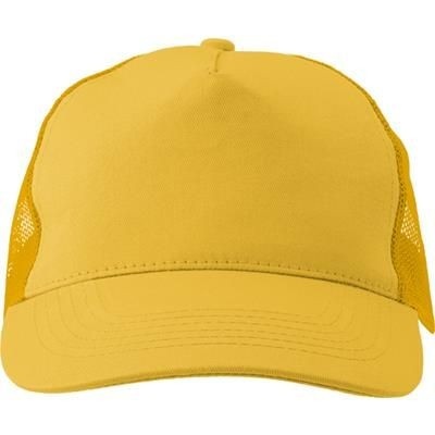 Picture of COTTON TWILL & PLASTIC FIVE PANEL BASEBALL CAP in Yellow