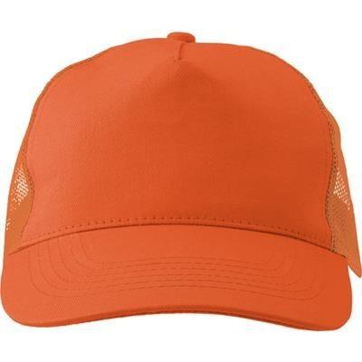 Picture of COTTON TWILL & PLASTIC FIVE PANEL BASEBALL CAP in Orange