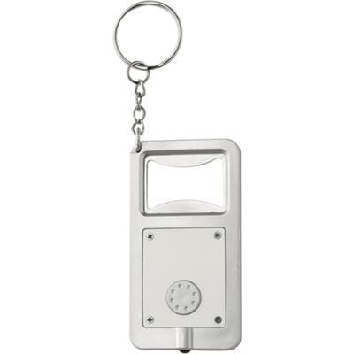Picture of KALVIN BOTTLE OPENER KEYRING & LIGHT in White & Silver