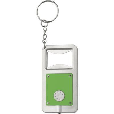 Picture of KALVIN BOTTLE OPENER KEYRING & LIGHT in Light Green & Silver