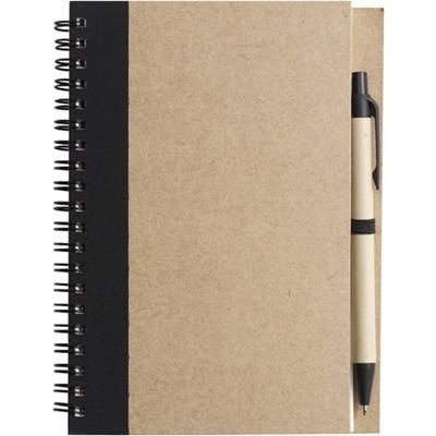 Picture of RECYCLED NOTE BOOK & PEN in Natural & Black