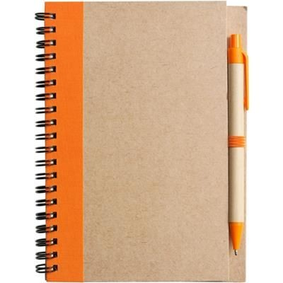 Picture of RECYCLED NOTE BOOK & PEN in Natural & Orange