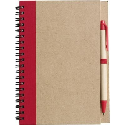 Picture of RECYCLED NOTE BOOK & PEN in Natural & Red