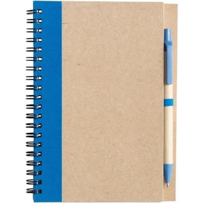 Picture of RECYCLED NOTE BOOK & PEN in Natural & Pale Blue