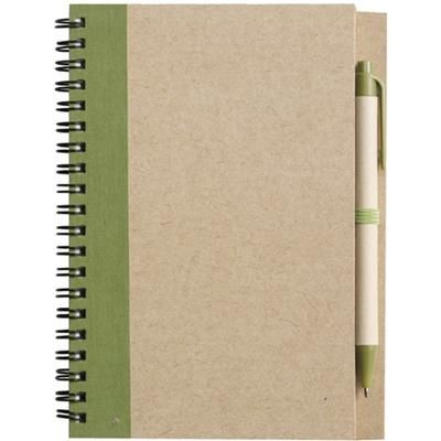 Picture of RECYCLED NOTE BOOK & PEN in Natural & Pale Green