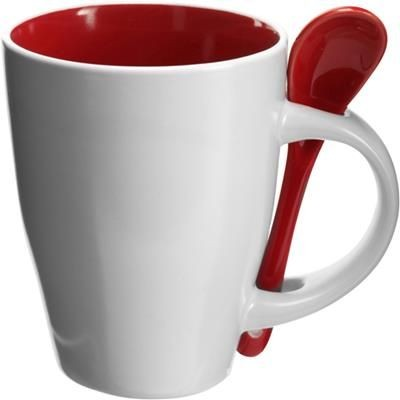 Picture of COFFEE MUG & SPOON SET in White & Red