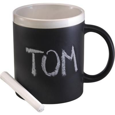 Picture of CERAMIC POTTERY MUG with Chalk in Black & White