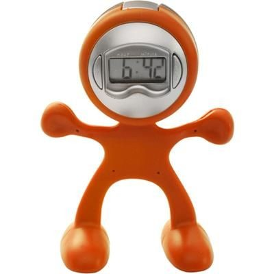 Picture of FLEXI MAN PLASTIC ALARM CLOCK in Orange